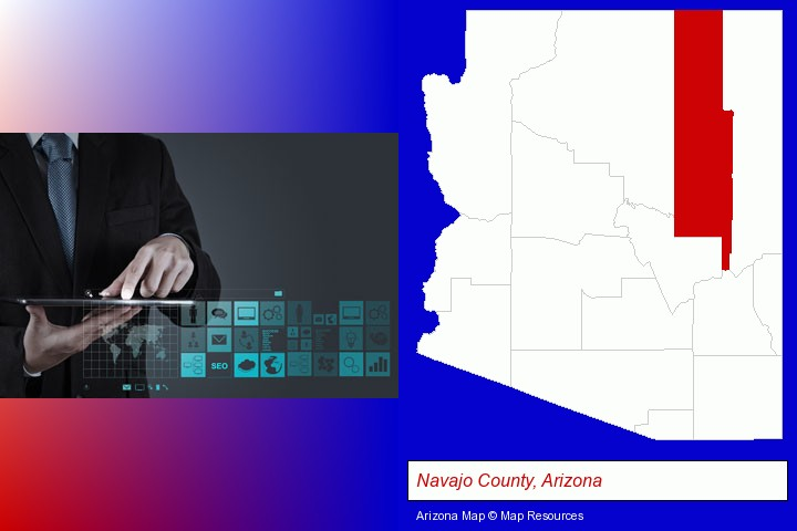 information technology concepts; Navajo County, Arizona highlighted in red on a map