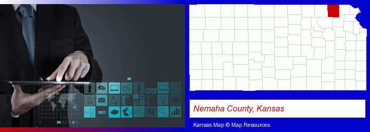 information technology concepts; Nemaha County, Kansas highlighted in red on a map