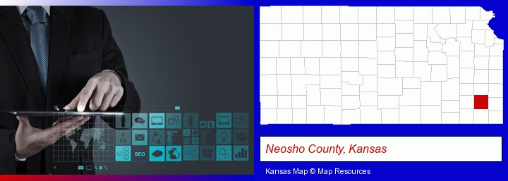 information technology concepts; Neosho County, Kansas highlighted in red on a map