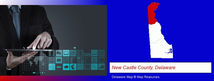information technology concepts; New Castle County, Delaware highlighted in red on a map