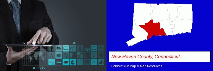 information technology concepts; New Haven County, Connecticut highlighted in red on a map