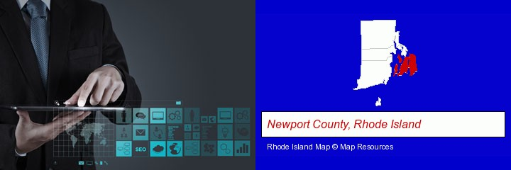 information technology concepts; Newport County, Rhode Island highlighted in red on a map
