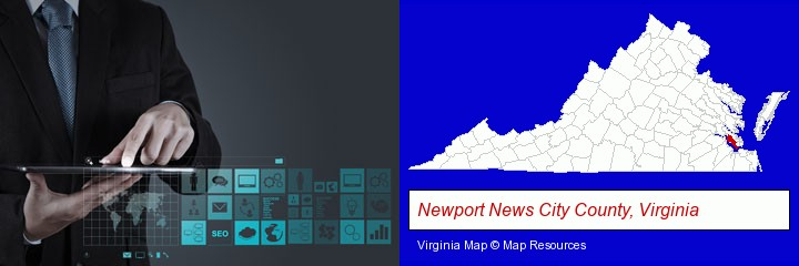 information technology concepts; Newport News City County, Virginia highlighted in red on a map