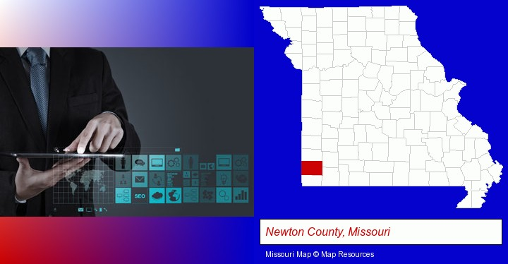 information technology concepts; Newton County, Missouri highlighted in red on a map