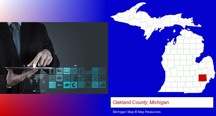 information technology concepts; Oakland County, Michigan highlighted in red on a map