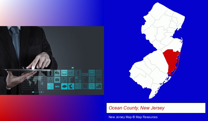 information technology concepts; Ocean County, New Jersey highlighted in red on a map
