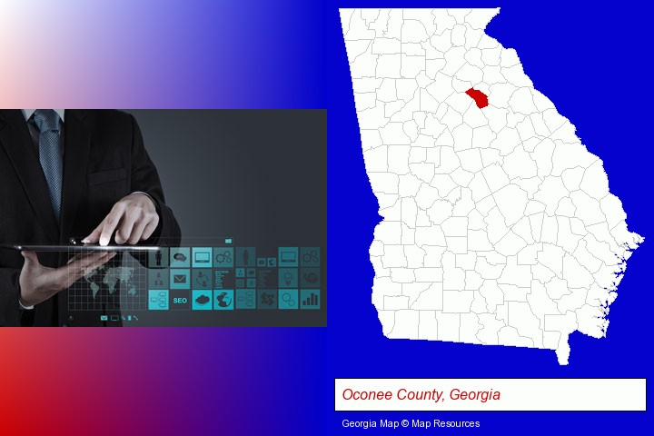 information technology concepts; Oconee County, Georgia highlighted in red on a map