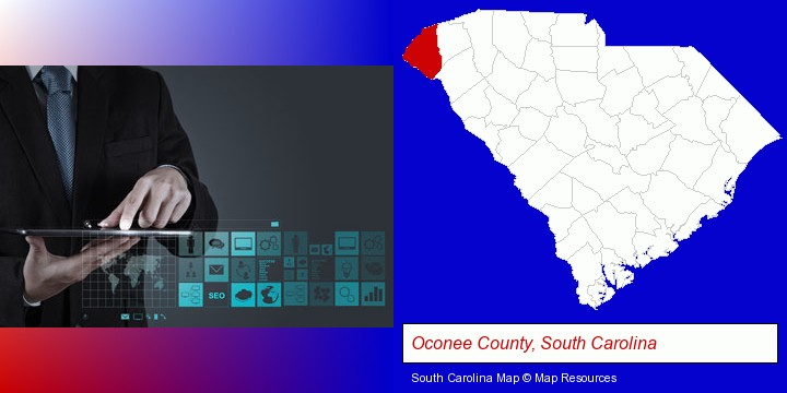 information technology concepts; Oconee County, South Carolina highlighted in red on a map