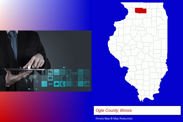 information technology concepts; Ogle County, Illinois highlighted in red on a map