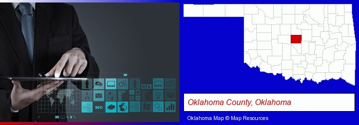 information technology concepts; Oklahoma County, Oklahoma highlighted in red on a map