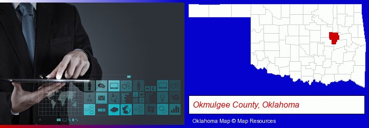 information technology concepts; Okmulgee County, Oklahoma highlighted in red on a map