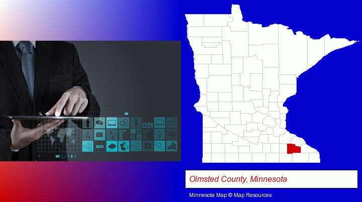information technology concepts; Olmsted County, Minnesota highlighted in red on a map