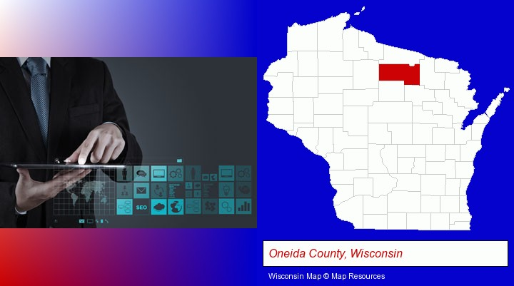 information technology concepts; Oneida County, Wisconsin highlighted in red on a map