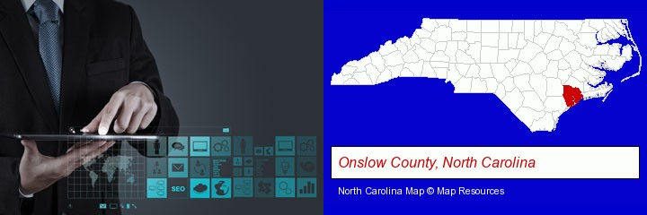 information technology concepts; Onslow County, North Carolina highlighted in red on a map