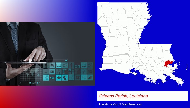 information technology concepts; Orleans Parish, Louisiana highlighted in red on a map