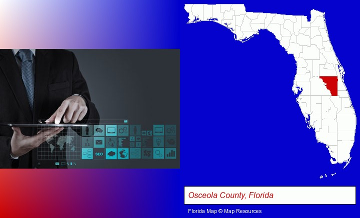 information technology concepts; Osceola County, Florida highlighted in red on a map