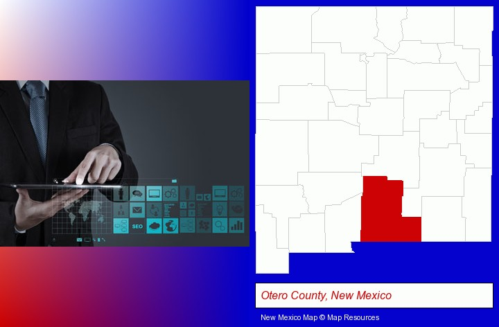information technology concepts; Otero County, New Mexico highlighted in red on a map