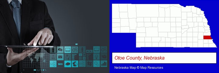 information technology concepts; Otoe County, Nebraska highlighted in red on a map