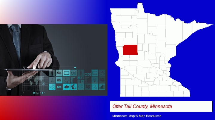 information technology concepts; Otter Tail County, Minnesota highlighted in red on a map