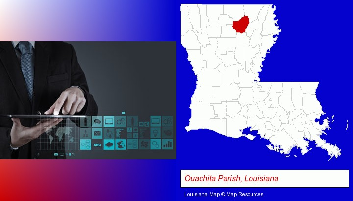 information technology concepts; Ouachita Parish, Louisiana highlighted in red on a map