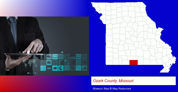 information technology concepts; Ozark County, Missouri highlighted in red on a map