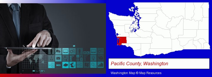 information technology concepts; Pacific County, Washington highlighted in red on a map