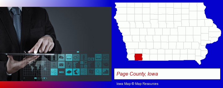 information technology concepts; Page County, Iowa highlighted in red on a map