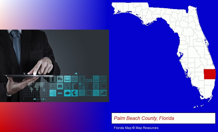 information technology concepts; Palm Beach County, Florida highlighted in red on a map