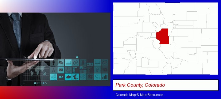 information technology concepts; Park County, Colorado highlighted in red on a map