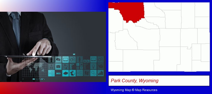 information technology concepts; Park County, Wyoming highlighted in red on a map