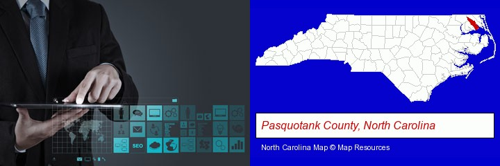 information technology concepts; Pasquotank County, North Carolina highlighted in red on a map