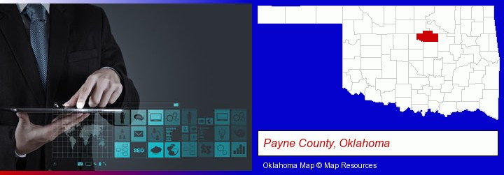 information technology concepts; Payne County, Oklahoma highlighted in red on a map