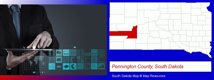 information technology concepts; Pennington County, South Dakota highlighted in red on a map