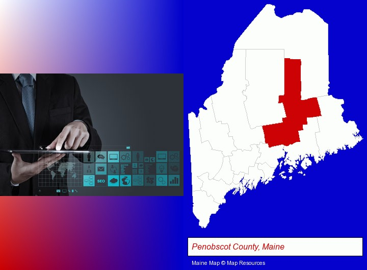 information technology concepts; Penobscot County, Maine highlighted in red on a map