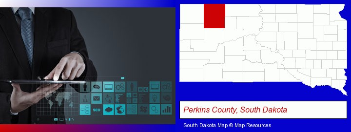 information technology concepts; Perkins County, South Dakota highlighted in red on a map
