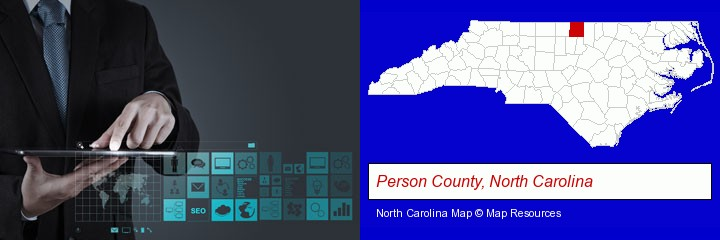 information technology concepts; Person County, North Carolina highlighted in red on a map
