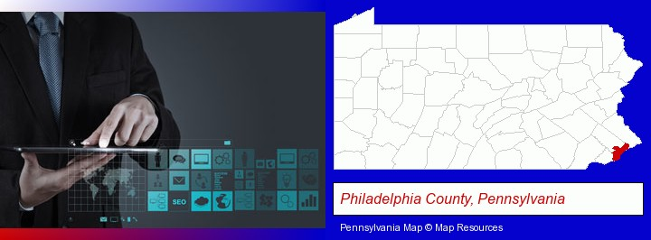 information technology concepts; Philadelphia County, Pennsylvania highlighted in red on a map