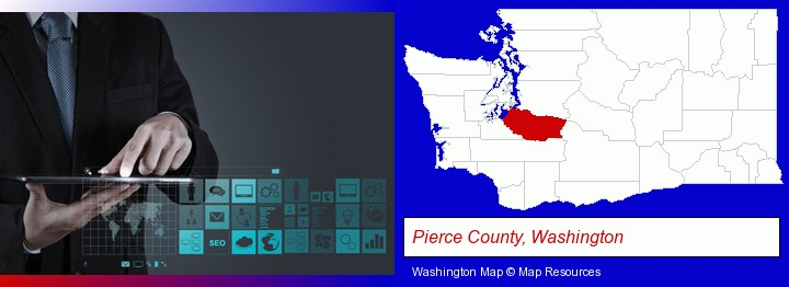 information technology concepts; Pierce County, Washington highlighted in red on a map
