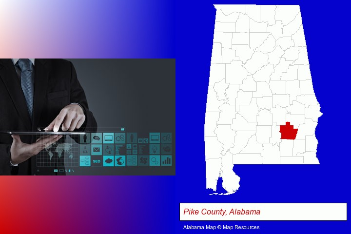 information technology concepts; Pike County, Alabama highlighted in red on a map