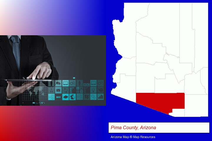 information technology concepts; Pima County, Arizona highlighted in red on a map
