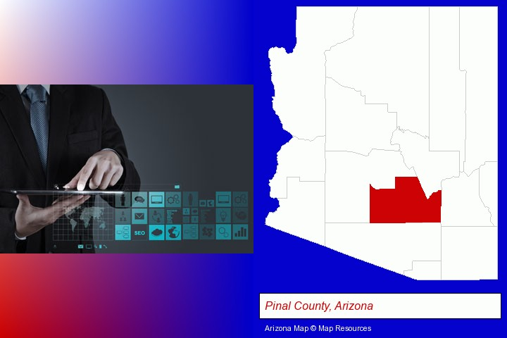 information technology concepts; Pinal County, Arizona highlighted in red on a map