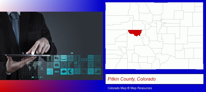information technology concepts; Pitkin County, Colorado highlighted in red on a map