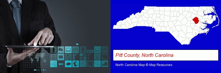 information technology concepts; Pitt County, North Carolina highlighted in red on a map