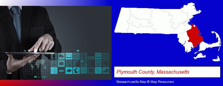 information technology concepts; Plymouth County, Massachusetts highlighted in red on a map