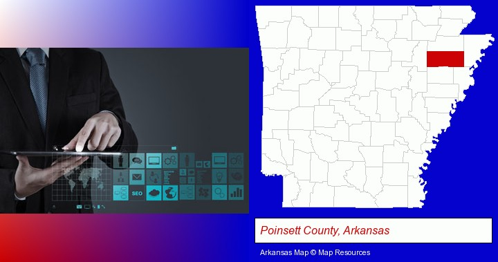 information technology concepts; Poinsett County, Arkansas highlighted in red on a map