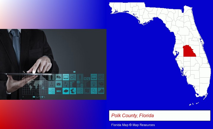 information technology concepts; Polk County, Florida highlighted in red on a map