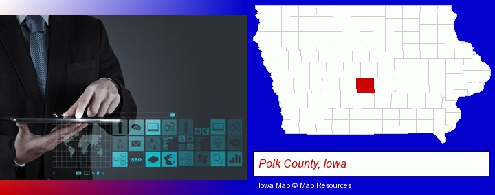 information technology concepts; Polk County, Iowa highlighted in red on a map