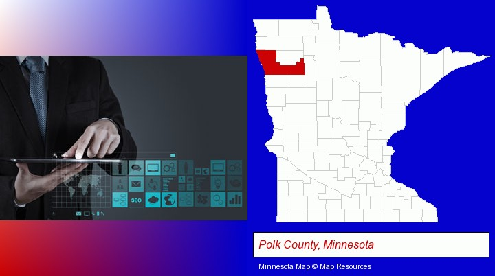 information technology concepts; Polk County, Minnesota highlighted in red on a map