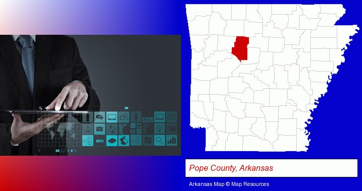 information technology concepts; Pope County, Arkansas highlighted in red on a map