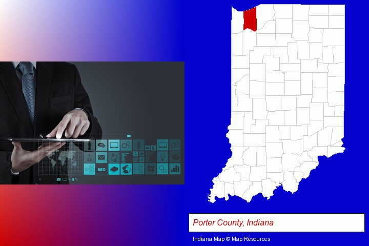 information technology concepts; Porter County, Indiana highlighted in red on a map
